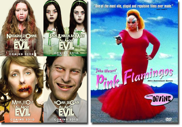 Pink Flamingos and All About Evil movie posters