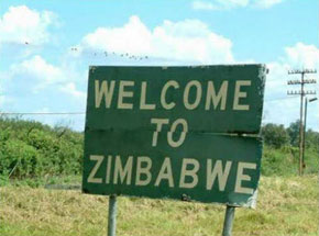 Zimbabwe roadside welcome sign