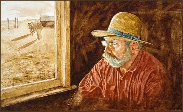 the cowboy poet raymond wattenhofer giclée print